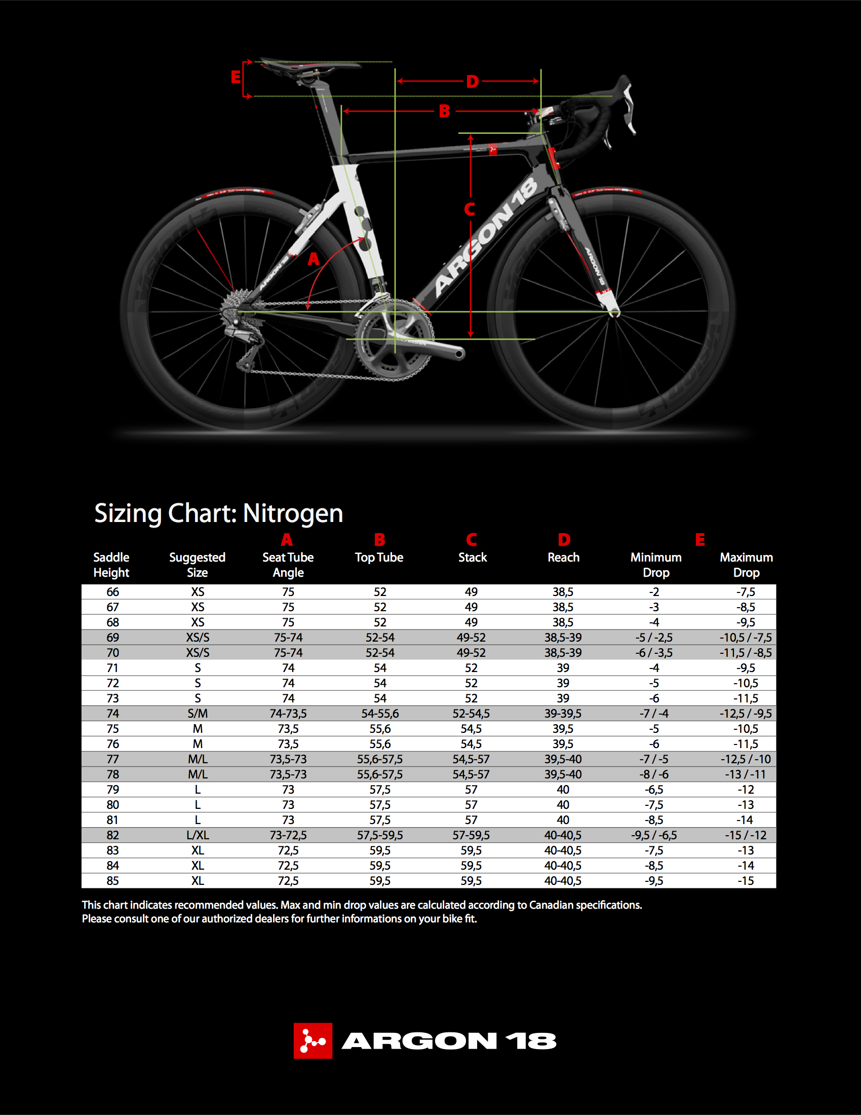 Argon 18 Nitrogen Ultegra Enduro Sport Road Bike Diagram Furthermore Parts Size Chart